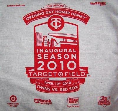 The 2010 Target Field Opening Day Homer Hanky - April 12, 2010.