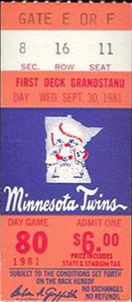 1981 Twins ticket for final game at the Met