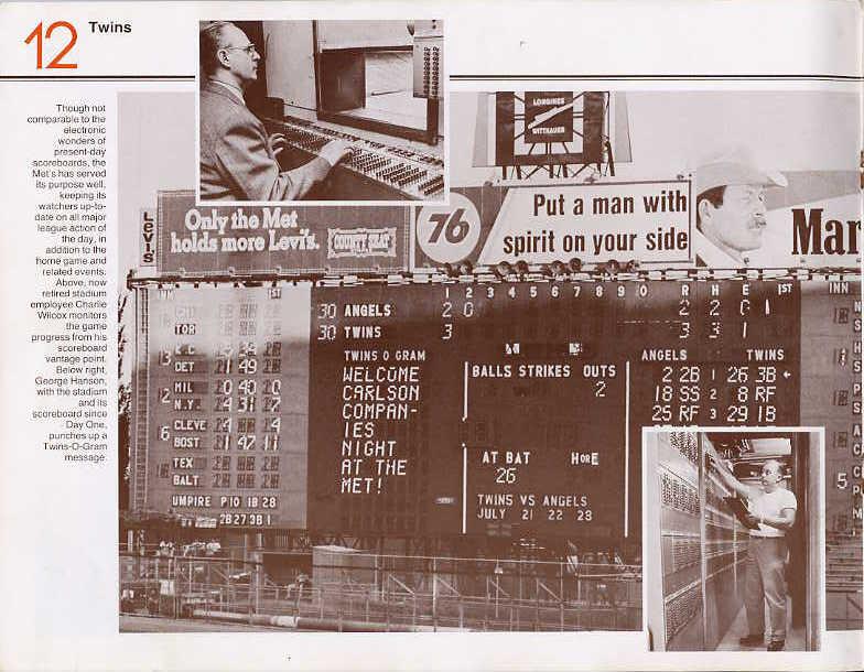 Met Stadium scoreboard