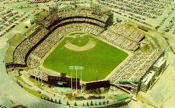 Another Met stadium aerial shot, note the trees in centerfield behind the scoreboard