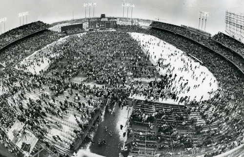Fans go wild at Metropolitan Stadium after the stadium's last game – a 10-6 Vikings loss to the Kansas City Chiefs on December 20, 1981