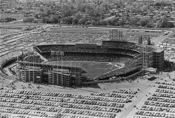 An aerial of a 1965 World Series game between the Twins and Dodgers