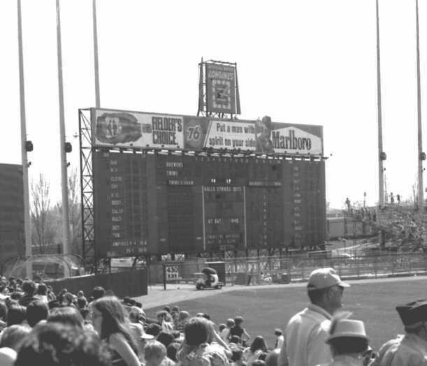 Met stadium scoreboard and the bullpen golf cart