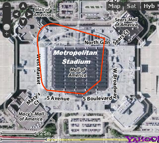 Where Met stadium sat as compared to the Mall of America that sits there now.