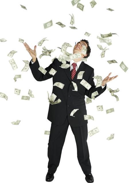 American dollar bills raining down