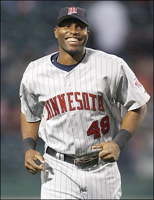 The ever smiling Torii Hunter took over center from Puckett and played in the Dome from 1997 - 2007. He helped the Twins to four division titles and won seven gold gloves with the Twins. Torii hit .324 in 10 playoff games at the Metrodome.