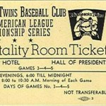 1969 Twins hospitality room ticket