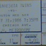 1986 Twins ticket. Click on the ticket to see the full image.