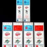 1987 Twins tickets for ALCS and World Series. Click on the tickets to see the full image.