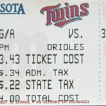 1994 Twins ticket. Click on the ticket to see the full image.