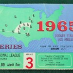 1965 World Series game 3 ticket at Dodger Stadium versus the Twins. Click on the ticket to see the full image.
