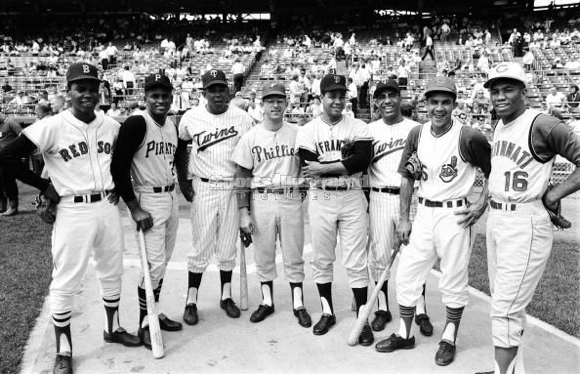 1965 All-Star game - l-r is Felix Mantilla, Roberto Clemente, Tony Oliva, Cookie Rojas, Juan Marichal, Zoilo Versalles, Vic Davalillo and Leo Cardenas