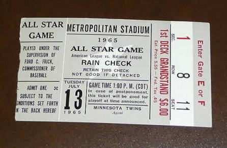 1965 All-Star game ticket