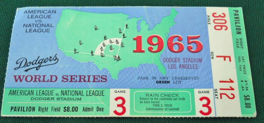1965 Dodgers World Series ticket vs Twins