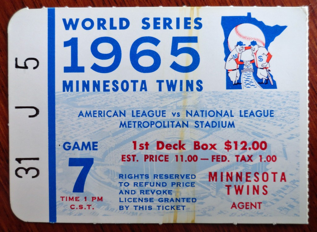 1965 Twins World Series game 7 ticket