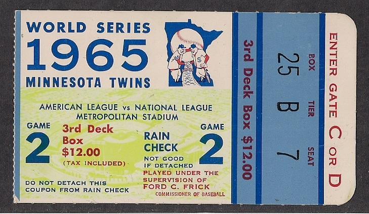1965 Twins World Series ticket