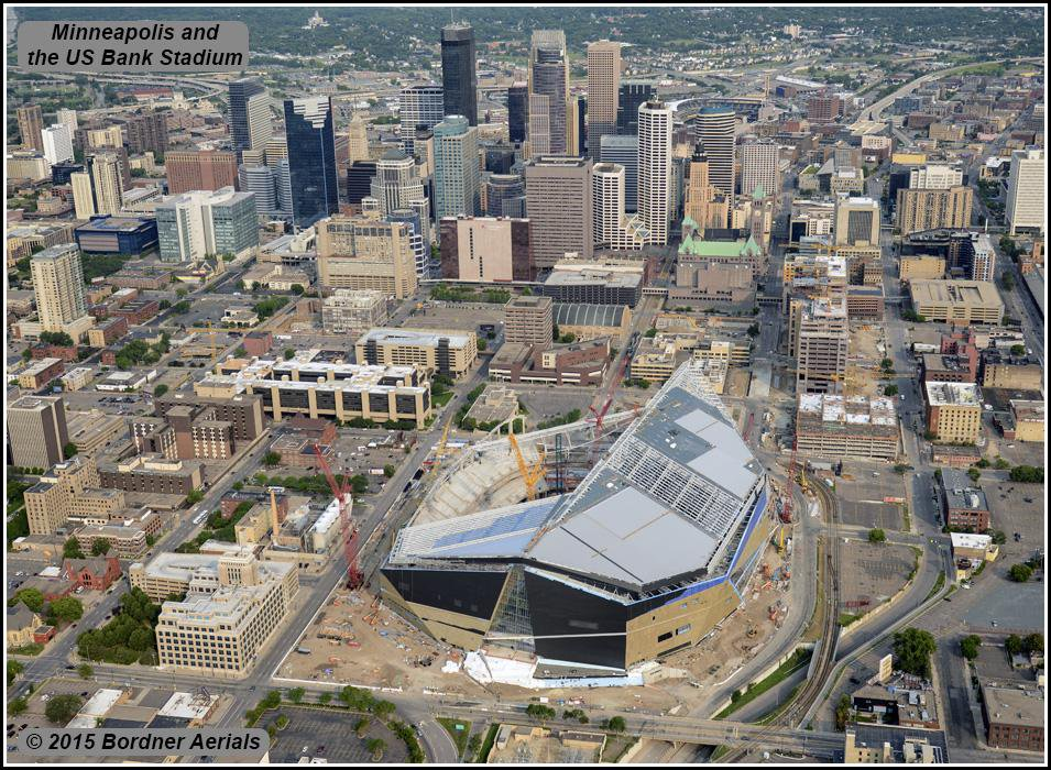 This is what the site of the Metrodome looks like now as the new US Bank rises from the ashes of the old dome. The old dome cost $68 million and the shiny new US Bank Stadium comes in at a price tag of well over a billion dollars and will be the home of the Minnesota Vikings.
